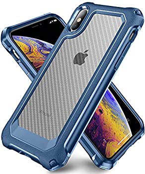 iPhone X Case iPhone Xs Case with [ Screen Protector Tempered Glass x2Pack] SUPBEC Protective Phone Cover with Silicone PC+TPU Shockproof Rubber Heavy Duty Case for iPhone X/iPhone Xs-Clear Blue