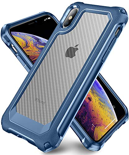 iPhone X Case, iPhone Xs Case with [ Screen Protector Tempered Glass x2Pack] SUPBEC Protective Phone Cover with Silicone PC+TPU Shockproof Rubber Heavy Duty Case for iPhone X/iPhone Xs-Clear Blue