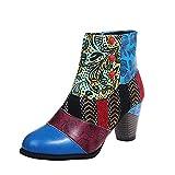 Womens Vintage Boots Leopard Printed Lace-up Plus Size Single Shoes Suqare Heels Zipper Flower Print Short Boots Blue