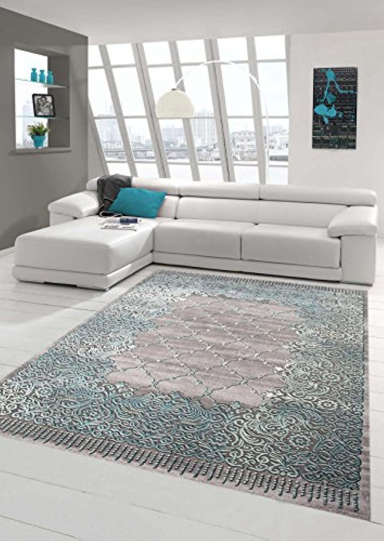 Traum Teppich Designerteppich Moderner Teppich Wohnzimmerteppich Kurzflor Bordüre und Ornamente mit Konturenschnitt in Grau Türkis, Gre 200x290 cm