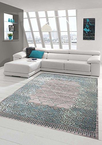 Traum Teppich Designerteppich Moderner Teppich Wohnzimmerteppich Kurzflor Bordüre und Ornamente mit...