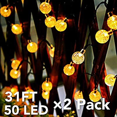 Solar Outdoor String Lights?2 Pack 31ft 50LED Solar Patio Lights Solar?Waterproof 8 Models Outdoor Lights String?Garden Patio String Lights?Solar String Lights for Christmas,Yard,Halloween(Warm White)