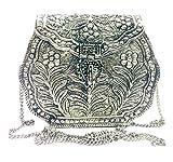 Cartera de embrague de plata de latón indio vintage Monedero antiguo étnico Hecho a mano Mujer cartera blanca de metal