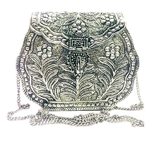 Cartera de embrague de plata de latón indio vintage Moneder