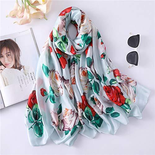 MYTJG zijden sjaal voor dames, bedrukte sjaal, zachte sjaal voor dames
