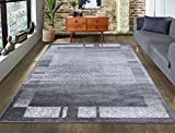 A2Z Rug|Palma 9958 Modern Abstract Silver Grey Border Pattern|Living Room Dining Room Area Rug|Soft low Pile|200x290cm - 6'7'x9'6'ft|Contemporary Large Area Carpet