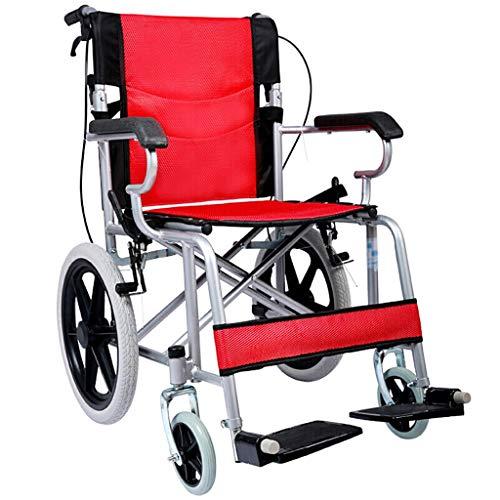 Rolstoel, Oxford doek zachte kussen, handmatige rolstoel, opvouwbare draagbare scooter, versterkt door stalen pijp, met opvouwbare draagbare, dubbele rek, met veiligheidsgordel Rood