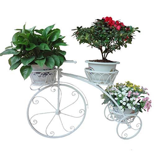 LuoKe Soporte de Flores Hierro Forjado Forma de Bicicleta Creativa Soporte de Planta para decoración del hogar, 83 x 24 x 55,3 cm