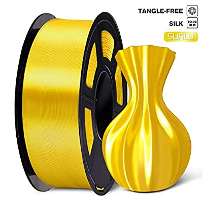 SUNLU PLA Silk Yellow Filament 1.75mm 3D Printer Filament, 1KG 2.2 LBS Spool 3D Printing Material, Shiny Metallic PLA Silk Filament