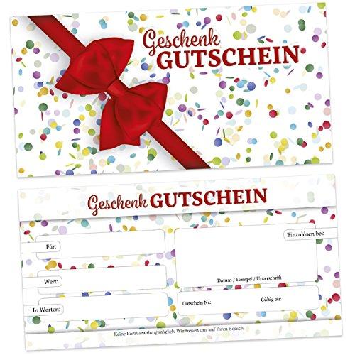 50 edle Geschenk Gutscheine für Kunden, beidseitig, für Firmen aller Branchen