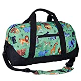 Wildkin Kids Overnighter Duffel Bag for Boys and Girls, Carry-On Size and Perfect for After-School Practice or Weekend Overnight Travel, Measures 18x9x9 Inches, BPA-free, Olive Kids (Wild Animals)