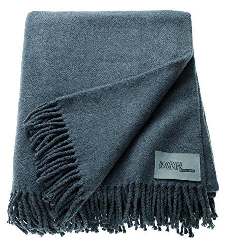 Schöner Wohnen Kollektion Tagesdecke 140x200 Baumwolle/Polyacryl • unifarbene Kuscheldecke Basics • Sofadecke Grau dunkel