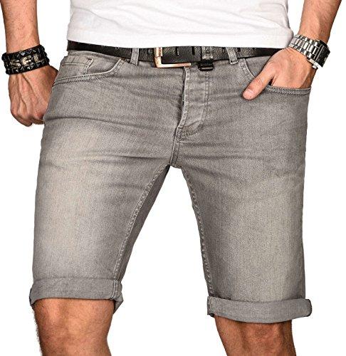 A. Salvarini Herren Designer Jeans Short Kurze Hose Slim Sommer Shorts Bermuda, Hellgrau, W34