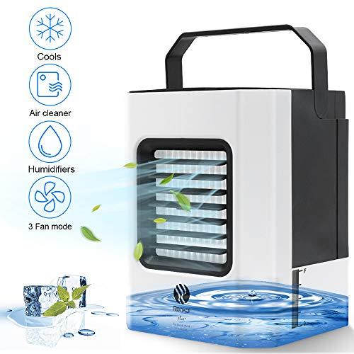 Mobile Klimaanlage, Mini Luftkühler, Klein Persönliche Klimaanlage, Tragbare 4 in 1 Verdunstungsgerät Luftbefeuchter Lufterfrischer Ventilator mit 3 Geschwindigkeiten für Schlafzimmer Wohnzimmer Büro