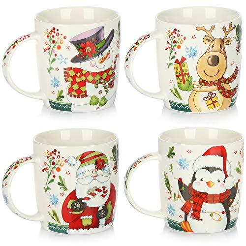 com-four® 4x Taza de Café de Porcelana - Taza de Café para Navidad con Motivos Coloridos - Taza para Bebidas Frías y Calientes - 370 ml (04 piezas - Motivos de Navidad)