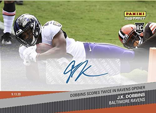 2020 J.K. DOBBINS SIGNED PANINI INSTANT AUTO CARD #20 SCORES TWICE IN NFL OPENER