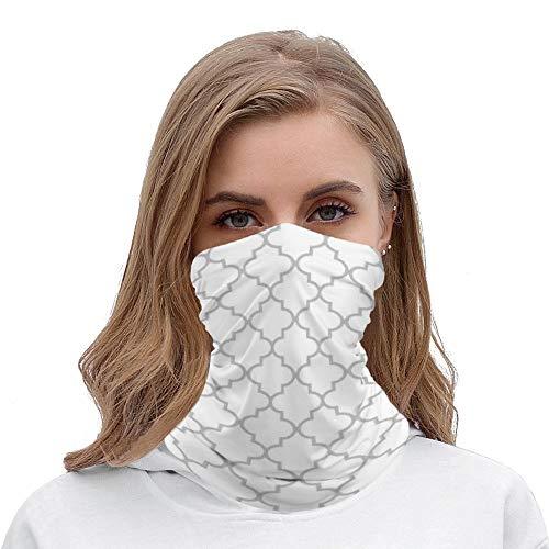 Unisex Seamless Face Mask Bandanas Neck Gaiter Tube Headwear Bandana, Elegant Gray White Moroccan Quatrefoil Pattern Face Mask Bandanas for Dust, Moto