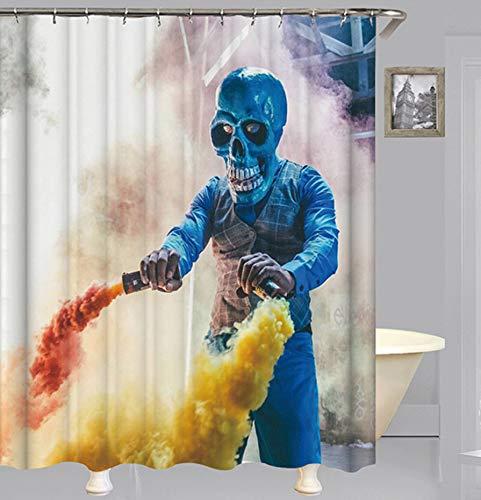 SCVBLJS Skelett Rauch Duschvorhang wasserdichte, Schimmelresistente Badezimmer-Sets Aus Polyestergewebe Mit 12 Haken (180 X 200 cm)