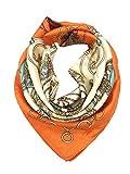 YOUR SMILE Silk Feeling Scarf Women's Fashion Pattern Orange Carriage Large Square Satin Headscarf (305)