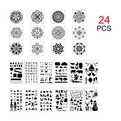 GLOBALDREAM 24 Pezzi di Stencil da Disegno Fai-da-Te e Mandala DOT Stencil, Set di pianificatore di plastica per Stencil per diario, quaderno, diario, Album di Disegno Fai-da-Te