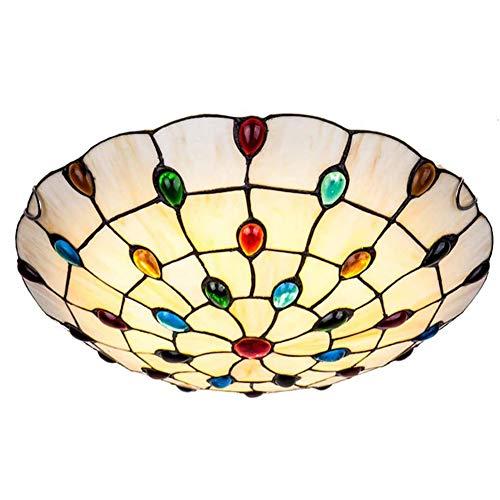 Led Estilo Tiffany Flush Mout Plafón,Jeweled Vidrieras Amarillo Vintage Antiguo Lámpara De Techo para Dormitorio Hallway Cocina Salón-Luz Cálida 50cm