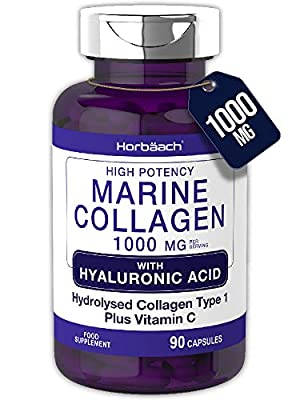 Marine Collagen 1000mg | 90 Capsules | + Hyaluronic Acid, Vitamin C & E | High Strength Type 1 Collagen Peptides | Non-GMO, Gluten Free Supplement | by Horbaach