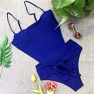 BEESCLOVER Summer Bikini Solid Color Swimwear Backless Bathing Suit Women Swimsuit