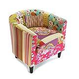 Versa Pink Patchwork Butaca para Salón, Dormitorio o Comedor, Sillón confortable y diferente, con Apoyabrazos, Medidas (Al x L x An) 56 x 62 x 64 cm, Algodón y Madera, Color Rosa