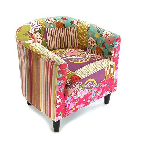 Versa Rosa Patchwork Ohrensessel Polsterstuhl mit Armlehnen Buttons, Baumwolle, rosa, grün, blau und lila beige