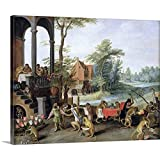 A Satire of The Folly of Tulip Mania Canvas Wall Art Print, Artwork