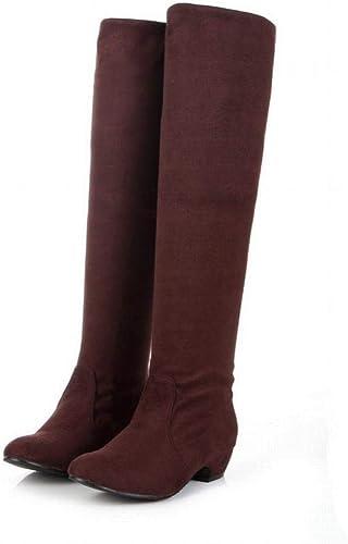 ZHRUI Stiefel para damen - Stiefel Altas Delgadas Stiefel para damen Stiefel de Caballero Tela elástica con Stiefel hasta la Rodilla Stiefel de Gran tamaño 35-43 (Farbe   braun, tamaño   41)