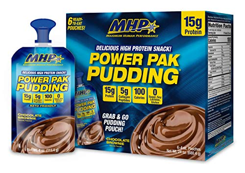 MHP Power Pak Chocolate Pudding Pouches 6 Pack, 15g Protein, 5g Collagen, Sugar Free, 100 Calorie, Low Carb, Protein Pudding Snack, Keto Friendly, Lactose Free, Soy Free, Gluten Free, Rich & Creamy