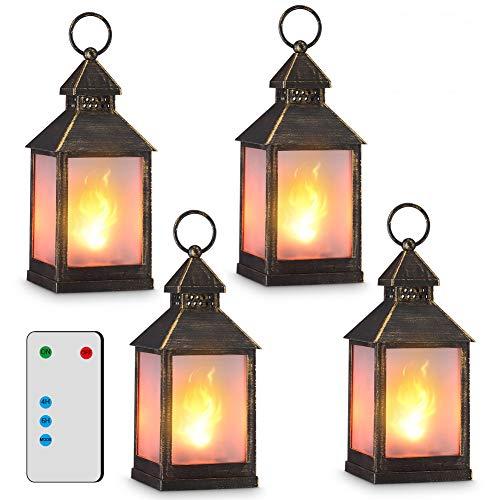 11' Vintage Style Decorative Lantern,Flame Effect LED Lantern,(Golden Brushed Black,4 Hours Timer)...