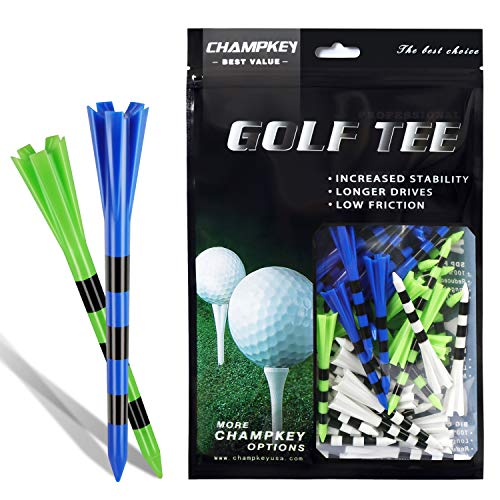 CHAMPKEY SDP Plus Golf Plastic Tees (75 Pack) | Reduces Friction & Side Spin 5 Prongs Golf Tees