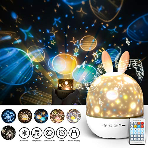 Night Lights for Kids with Music,Star Projector Night Light Lamp for Baby Girls Boys Bedroom Birthday Party,Light Projector with Timer & Bluetooth Speaker 6 Sets of Film-Best Gifts