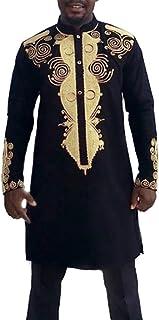 Hombre Otoño Invierno Estampado Lujo Camisa Africano De Manga Tamaños Cómodos Larga Dashiki Traje Casual Etno Estampado Co...