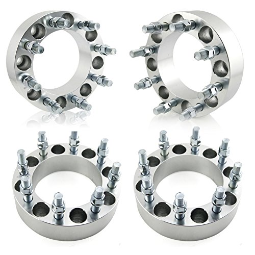 OrionMotorTech 8x6.5 Wheel Spacers 2 inches with 9/16-18 Studs Compatible with 1994-2011 Dodge Ram 2500 3500, 1988-1998 Ford F-250 F-350, 4pcs