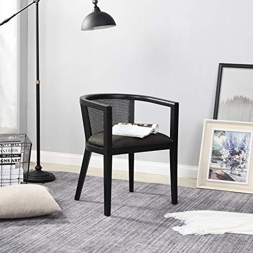 B&D home - Rattan Sessel skandinavisch Schwarz   Lesestuhl Wohnzimmer   Fernsehsessel bis 150kg   arm Chair Relax Chair
