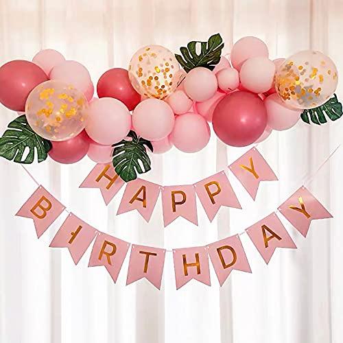 LBInerrant 55Pcs Party Supplies Feliz Cumpleaños Decoración Banner | Happy Birthday Banderas de Colores| Fiesta de Cumpleaños Favores(Rosa /Kit de Guirnaldas de Globos )
