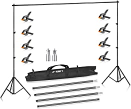 UTEBIT Heavy Duty Background Stand Photography with 8 Pack Muslin Clamps Adjustable 75-205cm Light Stand 110-280cm Cross Bar for Video Shooting