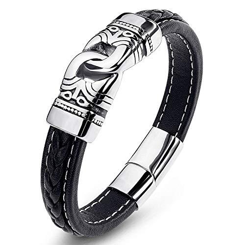 Punk armband van titaniumstaal, voor dames en heren, zwart met dubbele ring van zilver en stoffen versiering, creatief, eenvoudig en uniek. 16.5cm