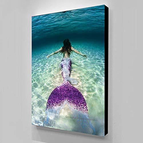 Unbekannt Leinwand Kleine Meerjungfrau Gemälde Wohnkultur Modulare Bilder Moderne Hd Gedruckt Poster-45x60 cm Kein Rahmen