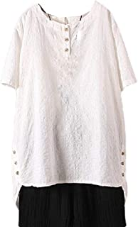 Zimaes Women Casual Short-Sleeve Plus Size Solid Color Linen Summer T-Shirt