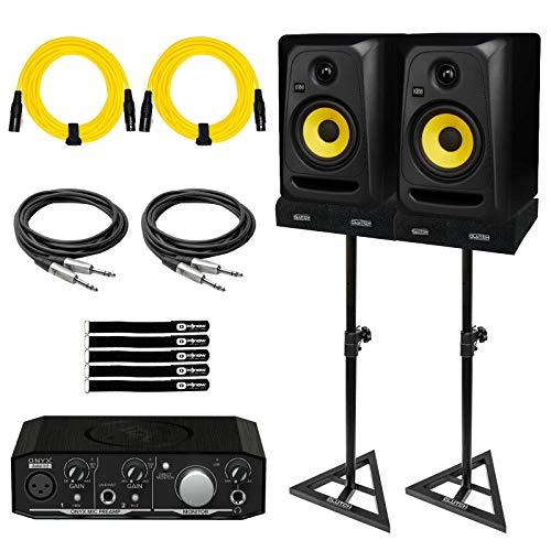 "KRK CL5G3 5"" Active Studio Monitor Speakers w Audio Interface Home Recording Pk"