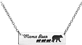 chaomingzhen Mama Bear Necklace with 3 Cubs Baby Mother and Child Bar Pendant for Women Girl Mom Charm