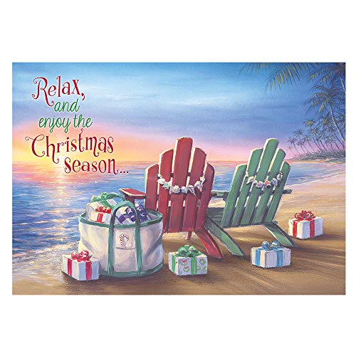 Red Farm Studios Adirondack Chairs and Gifts on Beach Box of 18 Coastal Christmas Cards (125-00843-000)