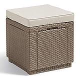 'Allibert by Keter' Hocker mit Stauraum Cube w/ cushion, cappuccino/sand, inkl. Kissen, mit Stauraum, Deckel abnehmbar, Kunststoff, flache Rattanoptik