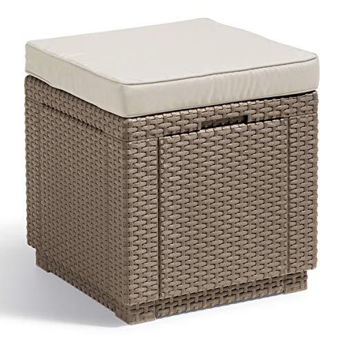 """Preisvergleich Produktbild """"Allibert by Keter"""" Hocker mit Stauraum Cube w / cushion,  cappuccino / sand,  inkl. Kissen,  mit Stauraum,  Deckel abnehmbar,  Kunststoff,  flache Rattanoptik"""