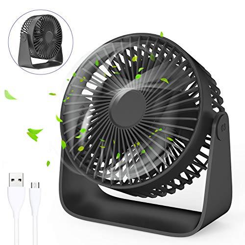 Jovego Mini Ventilador USB, Portátil Ventilador USB de Mesa Regulable en 3 Velocidades, Puede Poner Aceites de Aromaterapia, Ruido Bajo, para Coche, Oficina, Hogar, Viajes, Camping (Negro)