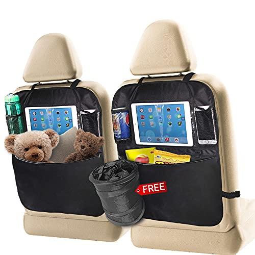 Magcubic 2 Stück Auto Rückenlehnenschutz Wasserdicht Auto Rücksitz Organizer mit Große Taschen und iPad Tablet-Fach für Kinder Rücksitzschoner Kick-Matten-Schutz mit Faltbar Auto Mülleimer